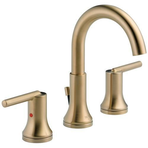 Delta bathroom sink faucet Champagne Bronze Delta Trinsic: Two Handle Widespread Lavatory - Metal Pop-Up