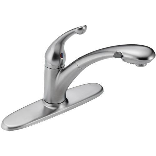 Delta kitchen faucet Arctic Stainless Delta Signature: Single Handle Pull-Out Kitchen Faucet