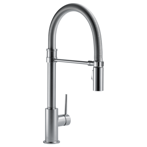 Delta kitchen faucet Arctic Stainless Delta Trinsic: Single Handle Pull-Down Kitchen Faucet With Spring Spout