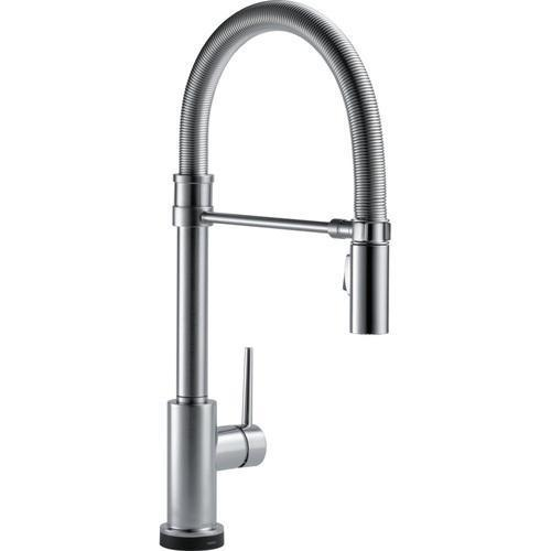 Delta kitchen faucet Arctic Stainless Delta Trinsic: Single Handle Pull-Down Spring Spout Kitchen Faucet with Touch2O Technology