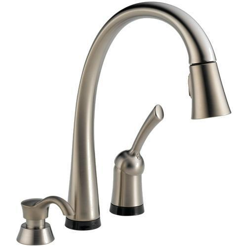 Delta Kitchen Faucet Brilliance Stainless Delta Pilar Single Handle Pull-Down Kitchen Faucet With Touch2O Technology And Soap Dispenser