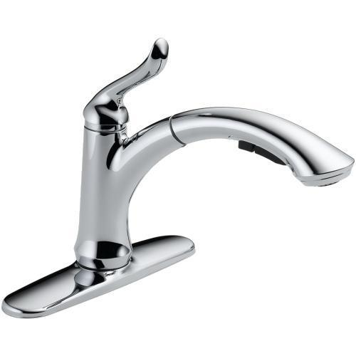 "Delta Kitchen Faucet Chrome Delta Faucet ""Linden"" Pull-Out Spray Kitchen Faucet"