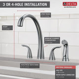 Delta kitchen faucet Delta Pilar: Two Handle Widespread Kitchen Faucet with Spray