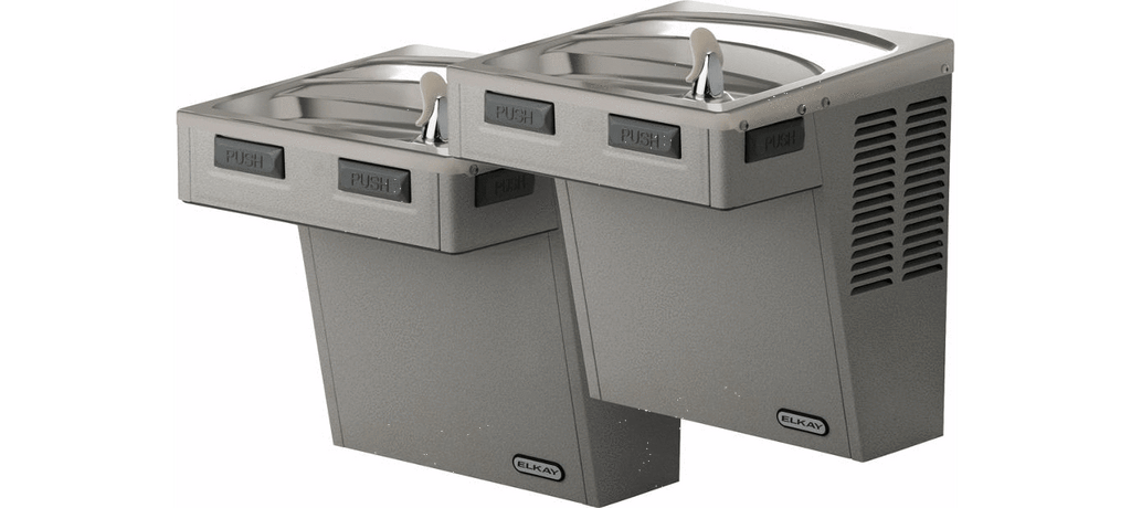 Elkay Coolers and Fountains Elkay Wall Mount Bi-Level ADA Cooler, Non-Filtered 8 GPH Light Gray Granite