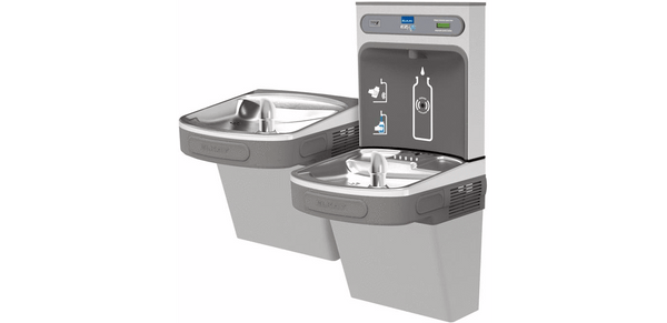Elkay Coolers and Fountains Light Gray Elkay EZH2O Bottle Filling Station & Versatile Bi-Level ADA Cooler, Non-Filtered Non-Refrigerated Light Gray