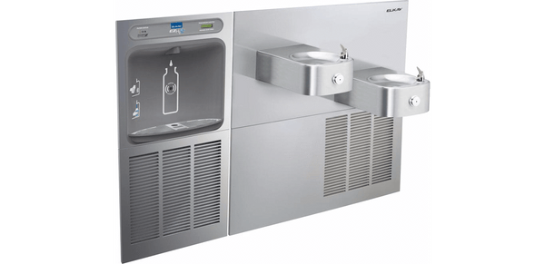 Elkay Coolers and Fountains Stainless Elkay EZH2O Bottle Filling Station & Soft Sides Bi-Level Fountain, Filtered 8 GPH Stainless