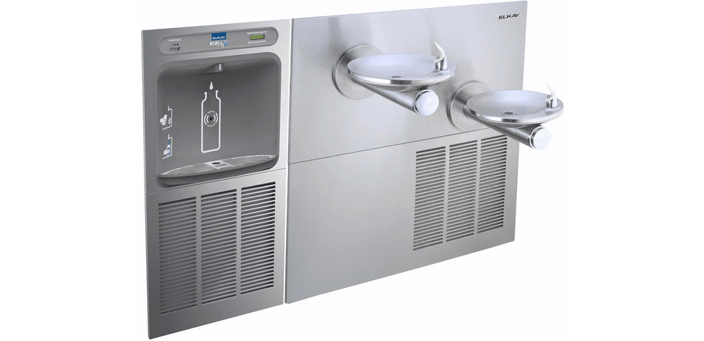 Elkay Coolers and Fountains Stainless Elkay EZH2O Bottle Filling Station & SwirlFlo Bi-Level Fountain, High Efficiency Filtered 8 GPH Stainless