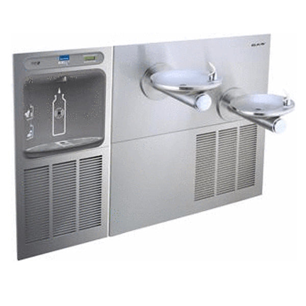 Elkay Coolers and Fountains Stainless Elkay EZH2O Bottle Filling Station & SwirlFlo Bi-Level Fountain, High Efficiency Non-Filtered 8 GPH Stainless