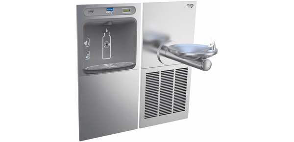 Elkay Coolers and Fountains Stainless Elkay EZH2O Bottle Filling Station & SwirlFlo Single Fountain, High Efficiency Non-Filtered 8 GPH Stainless