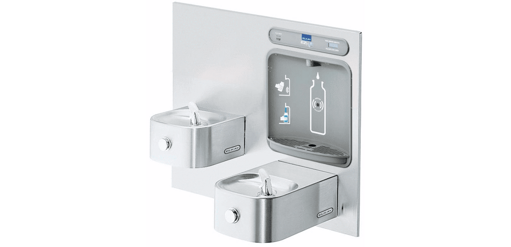 Elkay Coolers and Fountains Stainless Elkay EZH2O Bottle Filling Station with Integral Soft Sides Fountain, Filtered Non-Refrigerated Stainless