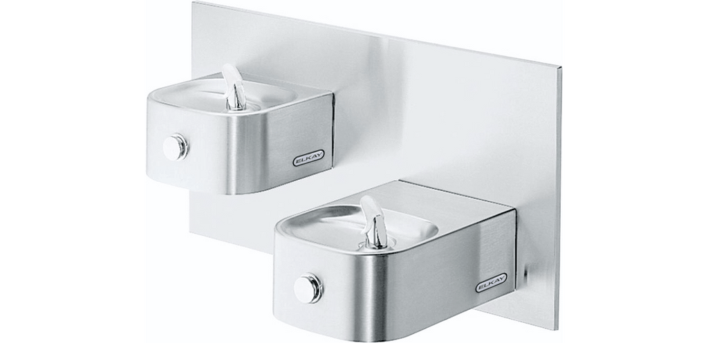 Elkay Coolers and Fountains Stainless Elkay Soft Sides Bi-Level Fountain Non-Filtered Non-Refrigerated, Stainless