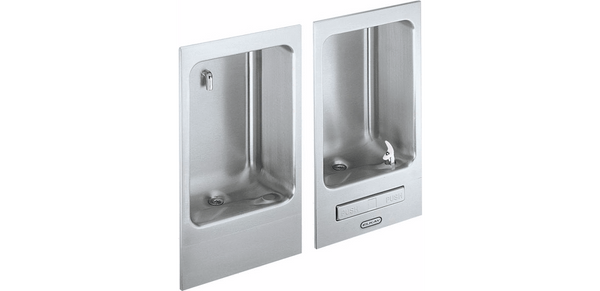 Elkay Coolers and Fountains Stainless Elkay Wall Mount Fully Recessed Fountain wth Cuspidor, Non-Filtered Non-Refrigerated Stainless