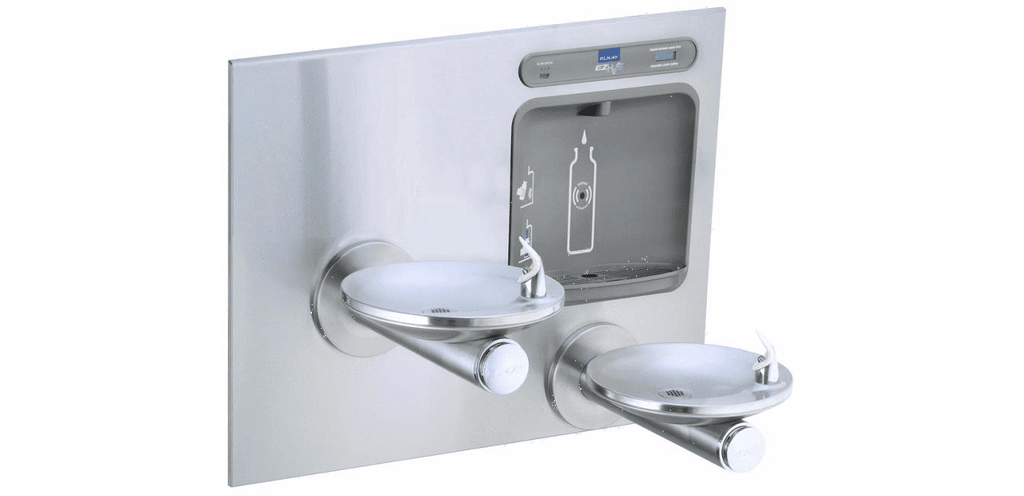 Elkay Coolers and Fountains Stainless View Product Image Full Screen      Play Video Image May Not Reflect Selected Options    Elkay EZH2O Bottle Filling Station with Integral SwirlFlo Fountain, Filtered Non-Refrigerated Stainless