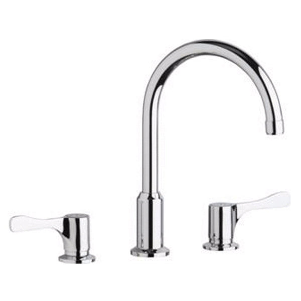 "Elkay Deck Faucet Chrome Elkay 8"" Centerset Concealed Deck Mount Faucet with Arc Spout and 4"" Lever Handles Chrome"
