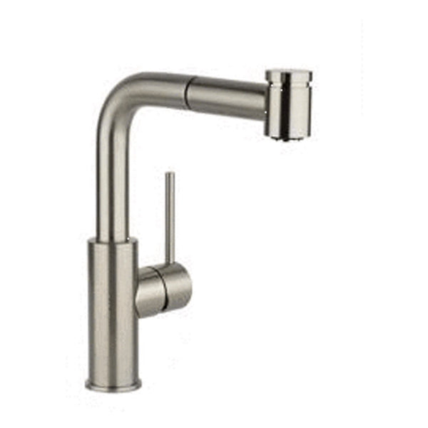 Elkay Deck Mount Faucet Brushed Nickel Elkay Harmony Single Hole Bar Faucet with Pull-out Spray and Lever Handle Brushed Nickel
