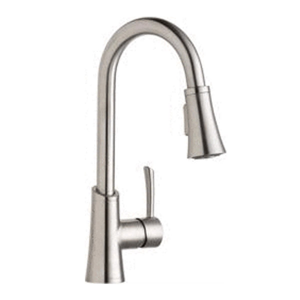 Elkay Deck Mount Faucet Lustrous Steel Elkay Gourmet Single Hole Bar Faucet with Pull-down Spray and Forward Only Lever Handle Lustrous Steel