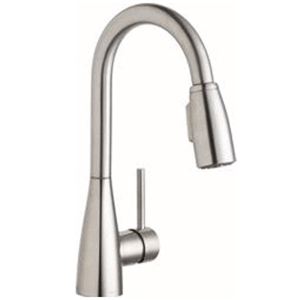 Elkay Faucet Items Lustrous Steel Elkay Avado Single Hole Bar Faucet with Pull-down Spray and Forward Only Lever Handle Lustrous Steel