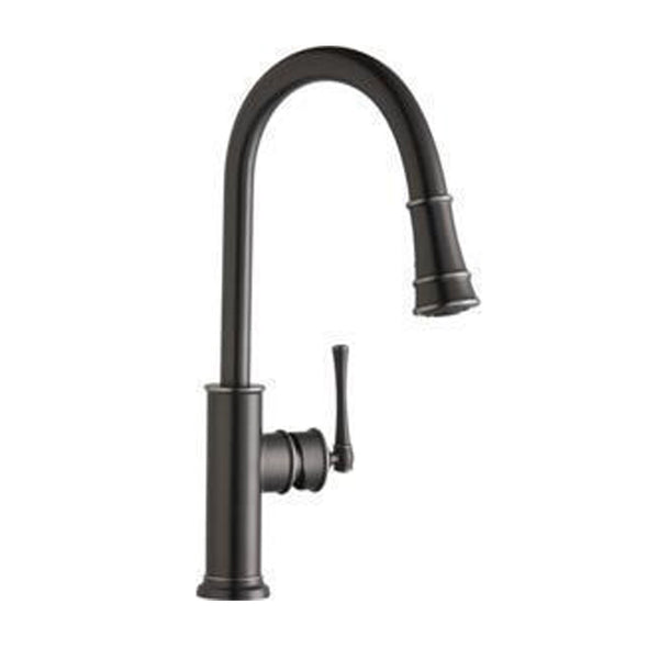 Elkay kitchen faucet Antique Steel Elkay Explore Single Hole Kitchen Faucet with Pull-down Spray and Forward Only Lever Handle Antique Steel