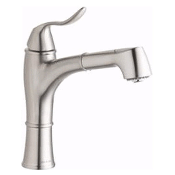 Elkay kitchen faucet Brushed Nickel Elkay Explore Single Hole Kitchen Faucet with Pull-out Spray Lever Handle with Hi and Mid-rise Base Options Brushed Nickel