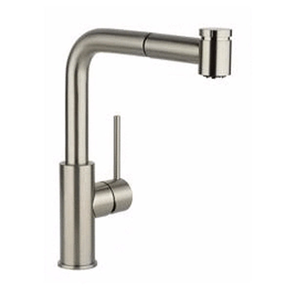 Elkay kitchen faucet Brushed Nickel Elkay Harmony Single Hole Kitchen Faucet with Pull-out Spray and Lever Handle Brushed Nickel