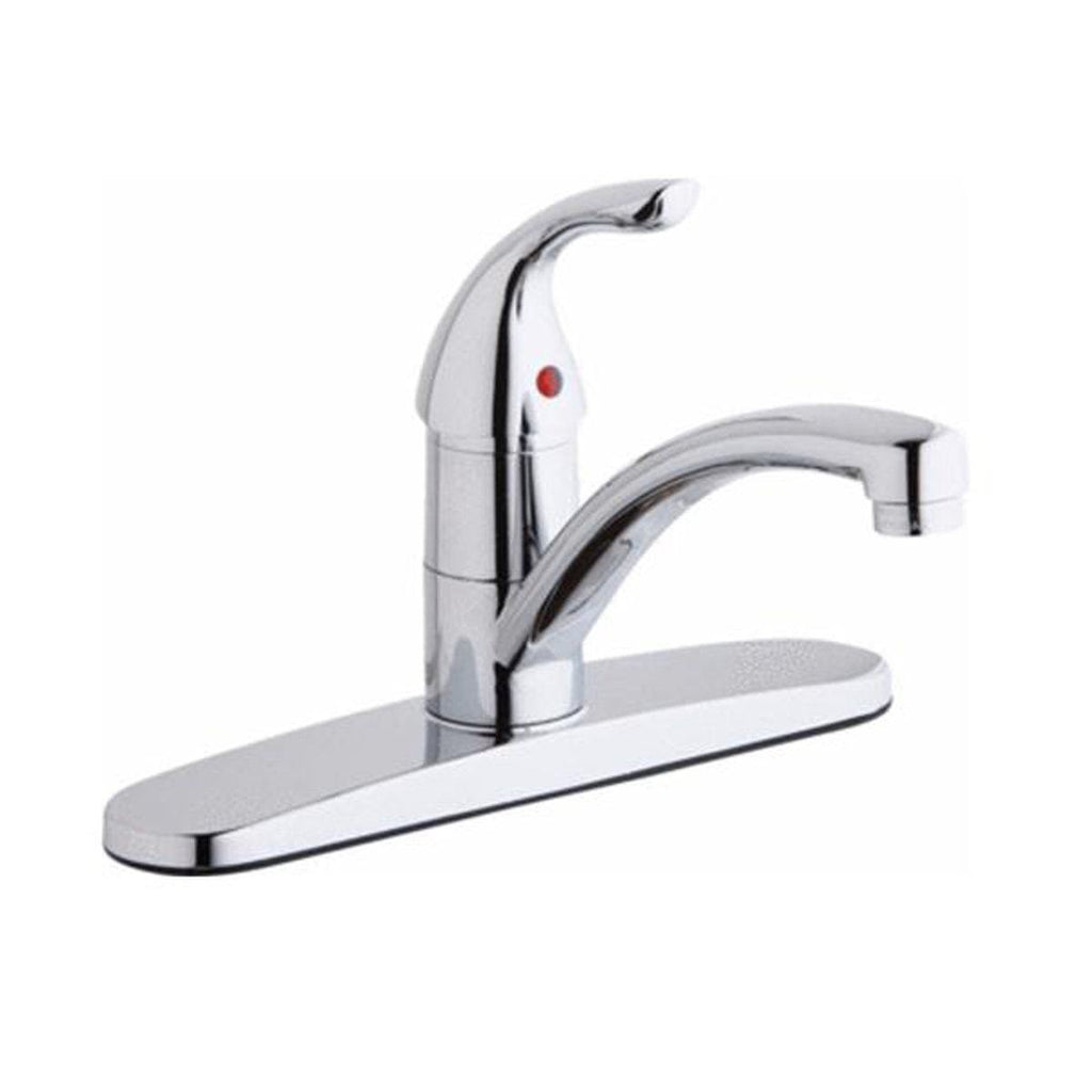 Elkay kitchen faucet Chrome Elkay Three Hole Deck Mount Everyday Kitchen Faucet with Lever Handle and Escutcheon Chrome