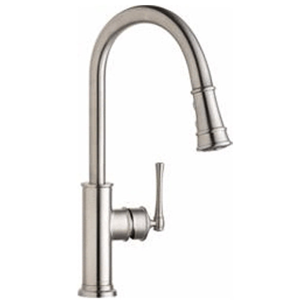 Elkay kitchen faucet Lustrous Steel Elkay Explore Single Hole Kitchen Faucet with Pull-down Spray and Forward Only Lever Handle Lustrous Steel