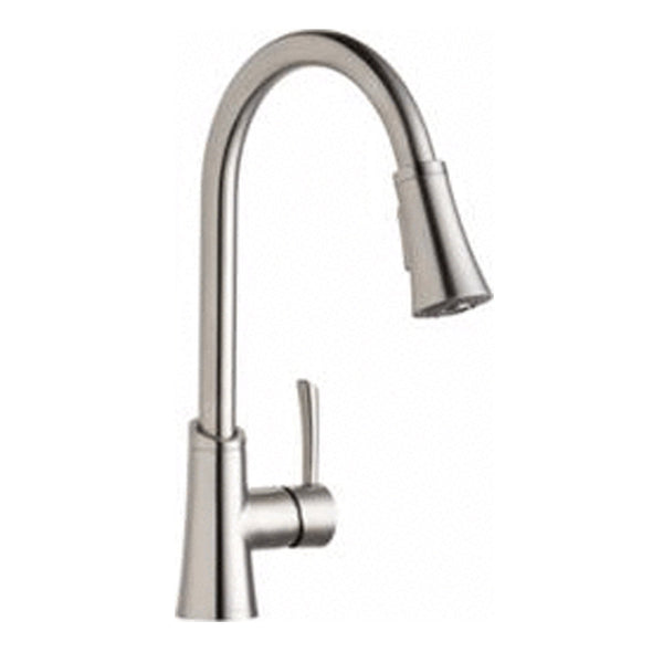 Elkay kitchen faucet Lustrous Steel Elkay Gourmet Single Hole Kitchen Faucet with Pull-down Spray and Forward Only Lever Handle Lustrous Steel