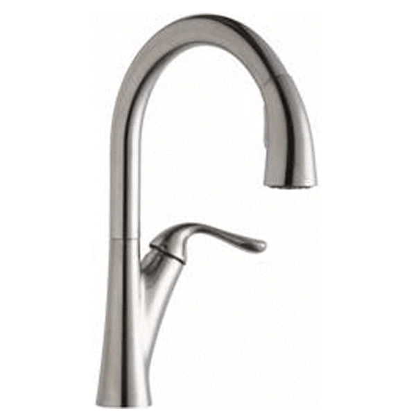 Elkay kitchen faucet Lustrous Steel Elkay Harmony Single Hole Kitchen Faucet with Pull-down Spray and Forward Only Lever Handle Lustrous Steel