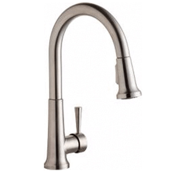 Elkay kitchen faucet Lustrous Steel Elkay Single Hole Deck Mount Everyday Kitchen Faucet with Pull-down Spray Forward Only Lever Handle Lustrous Steel