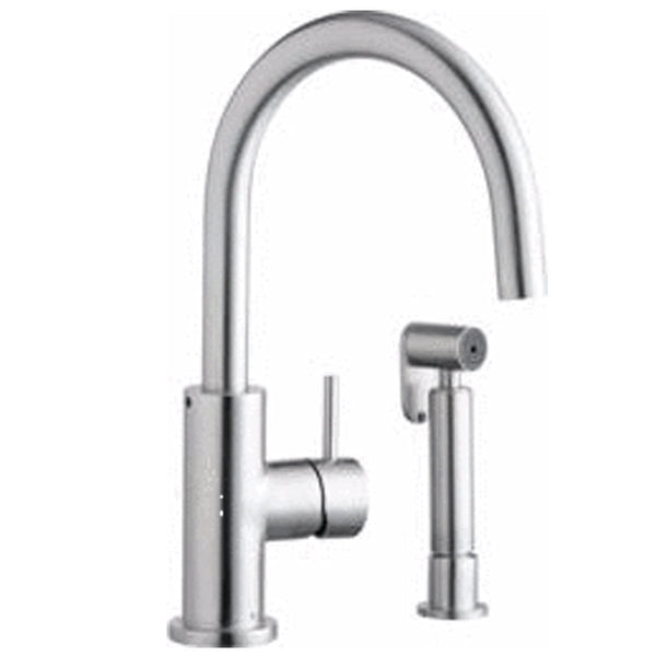 Elkay kitchen faucet Satin Stainless Elkay Allure Single Hole Kitchen Faucet with Lever Handle and Side Spray Satin Stainless Steel