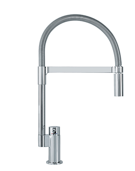 "Franke kitchen faucet Polished Chrome Franke ""Manhattan"" Pull Down Faucet Dual Spray Feature Stream and Spray"