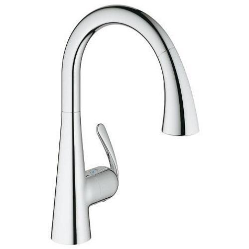 "Grohe Kitchen Faucet StarLight Chrome Grohe ""LadyLux"" Pull-Out Spray Kitchen Faucet"