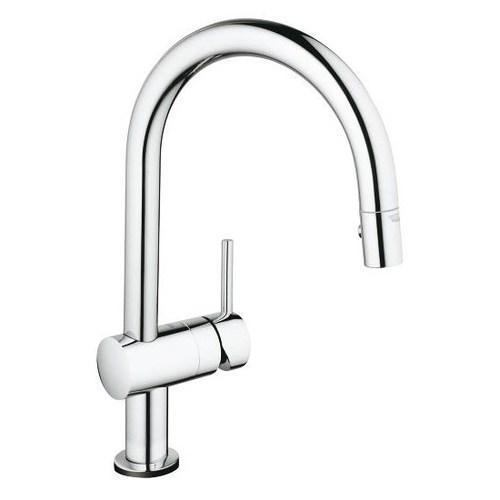 "Grohe Kitchen Faucet StarLight Chrome Grohe ""Minta Touch"" Pull-Out Spray Kitchen Faucet"