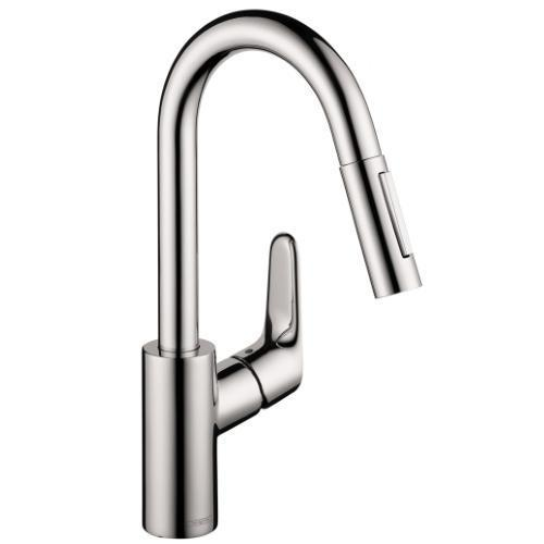 "Hansgrohe Kitchen Faucet Chrome Hansgrohe ""Focus"" Pull-Out Spray Kitchen Faucet"