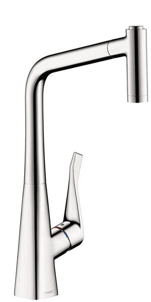 "Hansgrohe Kitchen Faucet Chrome Hansgrohe ""Metris"" Pull-Out Spray Kitchen Faucet"