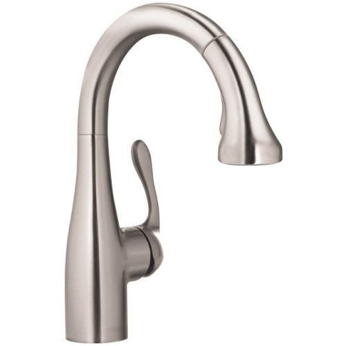 "Hansgrohe Kitchen Faucet Steel Optik Hansgrohe ""Allegro E"" Single Hole Bar Gourmet Prep Faucet"