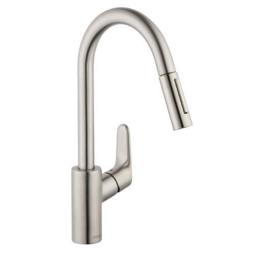 "Hansgrohe Kitchen Faucet Steel Optik Hansgrohe ""Focus"" Pull-Out Spray Kitchen Faucet"