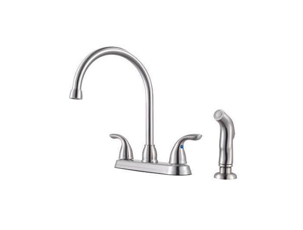 "Pfister kitchen faucet Stainless Steel Pfister ""Pfirst"" Two Handle High Arc Kitchen Faucet with Spray"