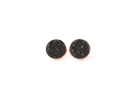 12mm Black Druzy Stud (choose your setting)