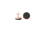 12mm Black Druzy Stud (rose gold setting)