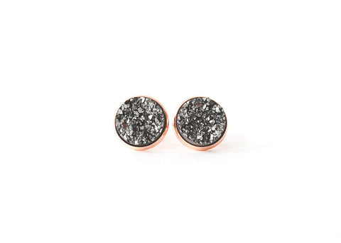 12mm Gunmetal Druzy Stud (choose your setting)
