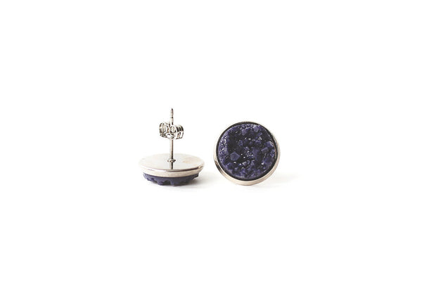 12mm Navy Blue Stud (choose your setting)