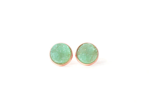 12mm Jade Green Druzy Stud (rose gold setting)