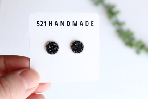 8mm Black Druzy Stud (choose your setting)