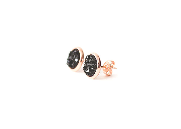 8mm Black Druzy Stud (rose gold setting)