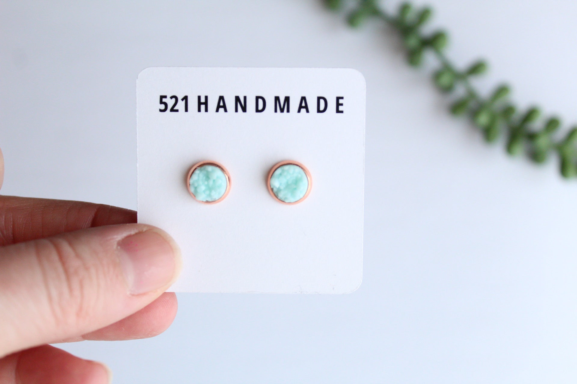 8mm Light Blue Druzy Stud (choose your setting)