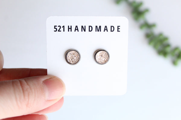 8mm Blush Sparkly Druzy Stud (choose your setting)