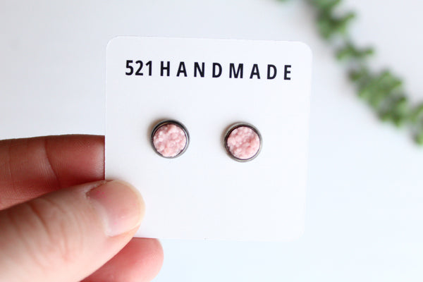 8mm Matte Pink Druzy Stud (choose your setting)