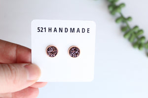 8mm Copper Purple Studs (choose your setting)