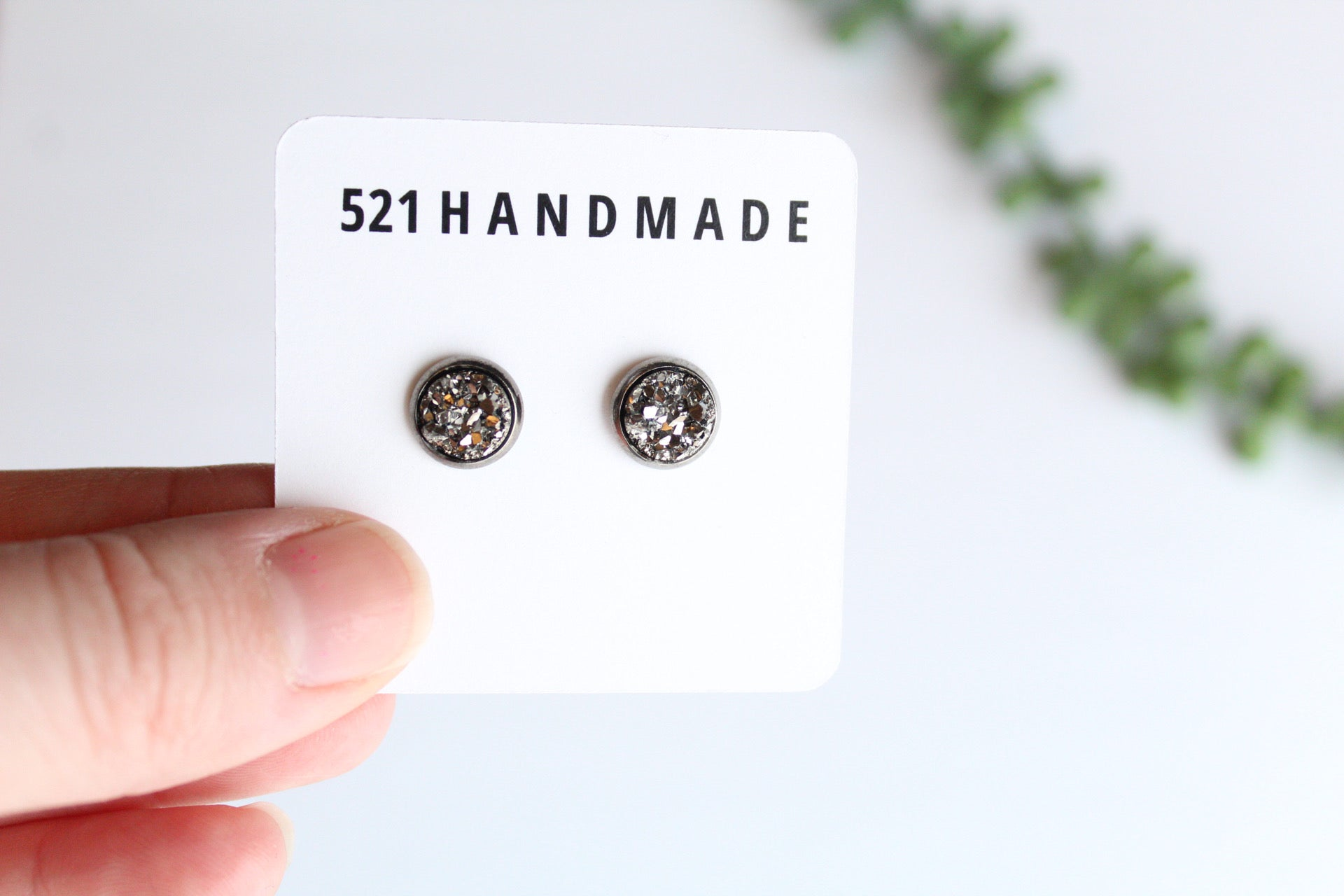 8mm Gunmetal Druzy Stud (choose your setting)